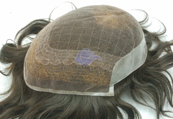 """HS8 French lace base with 1"""" poly coating on back and sides men's toupee"""
