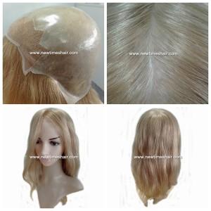 LL384 Parrucca da Donna Intera Calotta in Pelle con Lace Frontale Capelli Lunghi